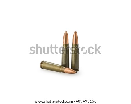 7,62 Ã? 39 gauge riffle shells used for hunting isolated on white