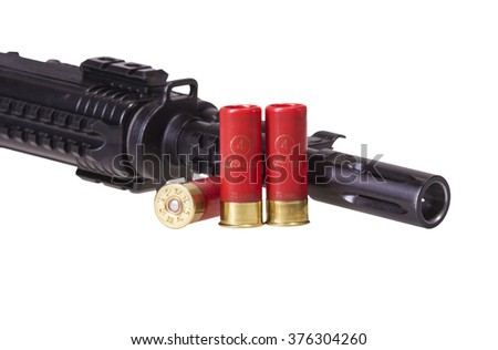 12 gauge shotgun shells used for hunting with assault riffle isolated on a white background - stock photo