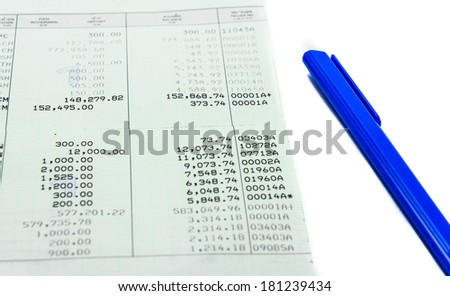 general thailand book bank and single blue pen isolated on white background - stock photo