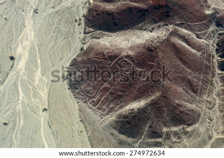 Geoglyphs and lines in the Nazca desert. UNESCO World Heritage Site - Peru, South America - stock photo