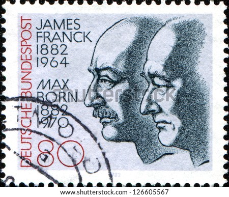 GERMANY - CIRCA 1982: A stamp printed in the Germany, dedicated to the 100th anniversary of the birth Nobel Prize winners James Franck and Max Born, circa 1982