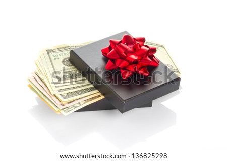 Gift box with dollars banknotes - stock photo