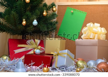 gift boxes With Christmas tree - stock photo