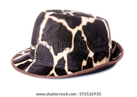 giraffe pattern men hat on white background .