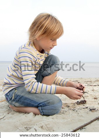 Girl  at Baltic-Sea - stock photo