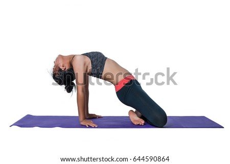 girl child practicing yoga, concept, isolated, white studio background