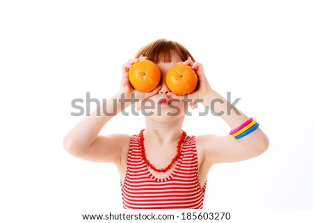 girl citrus isolated on white background. happiness. emotions - stock photo
