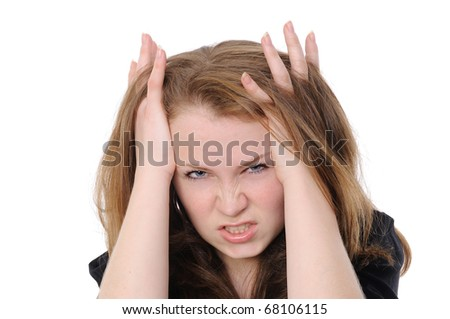 girl crying isolated over white background