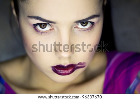Girl's face with lipstick smearing