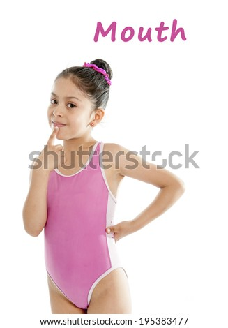 girl wearing a pink swimsuit pointing at her month on a white background for a school anatomy or body part chart