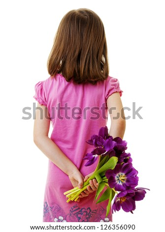 girl with bunch of flowers - mothers day concept - stock photo