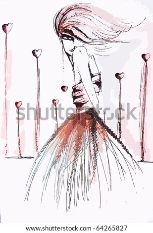 Girl with hearts Hand made fashion illustration with digital manipulation.