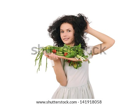 Girl with vegetables, diet and healthy eating