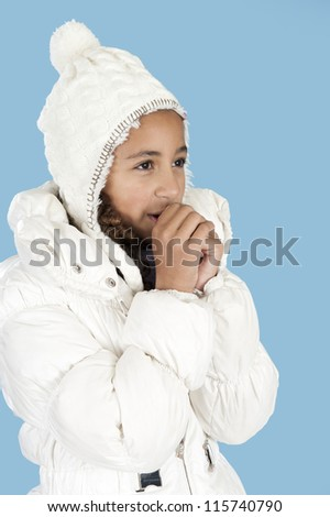 girl with winter hat getting cold