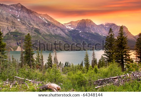 Glacier national park in evening sun light - stock photo