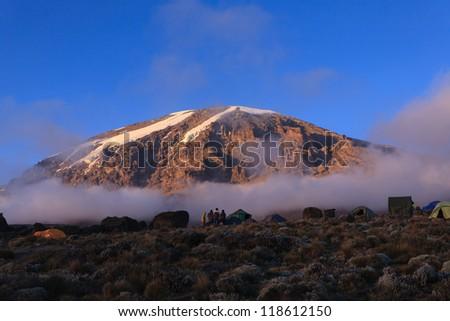 Glacier view of Mount Kilimanjaro taken from the Karanga Camp on the Machame Route. - stock photo