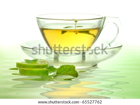 glass cup of green tea - stock photo