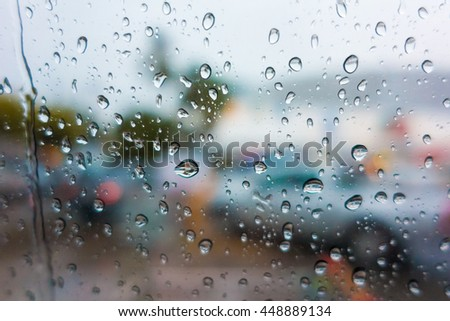 Glass drops of rain