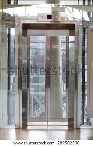 Glass Elevator Door Businessman Taking Modern Stock Photo Download
