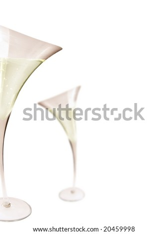 2 Glass of champagne with isolated background.