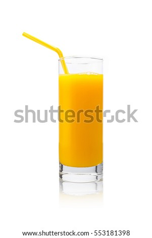 glass of fresh orange juice with drinking straw on white background