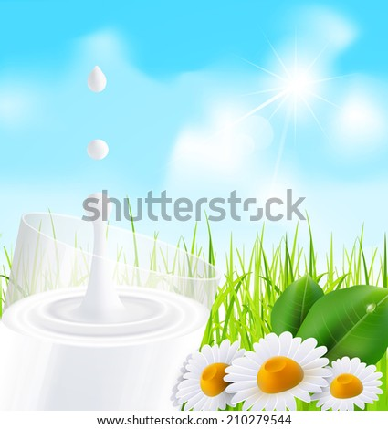 glass of milk, daisies on a background of green grass and blue sky - stock photo