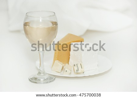 Glass of white wine and a plate of cheese