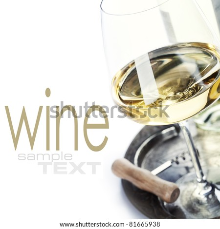 glass of wine and corkscrew over white (with sample text) - stock photo