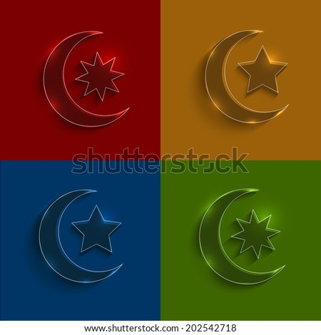 glass ramadan icons set - stock photo