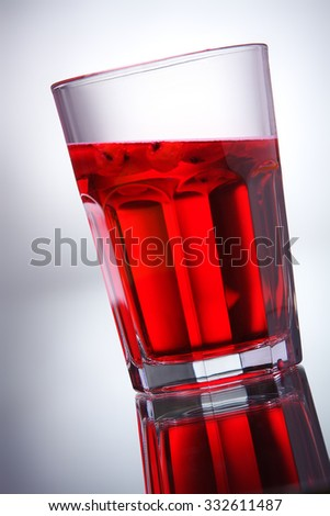 glass with red water