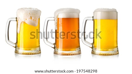 glasses of beer set isolated on a white background - stock photo