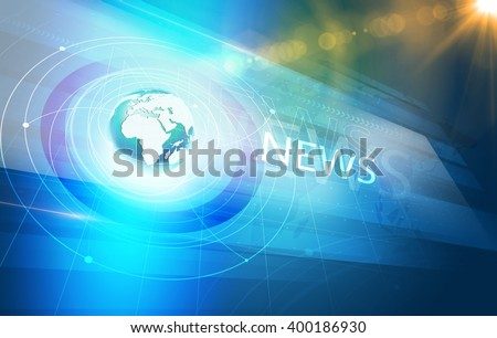 Global International Connections News Background, World Map with Concentric Waves circles Around the Earth Globe, Futuristic News Background with Lens Effect. - stock photo