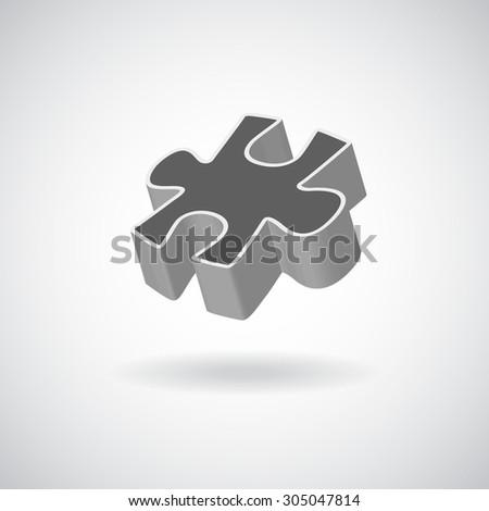 glossy puzzle web icon design element. Rasterized Copy - stock photo