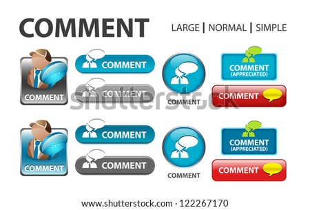 glossy web button with comment sign. comment bubble shape icon with shadow - stock photo