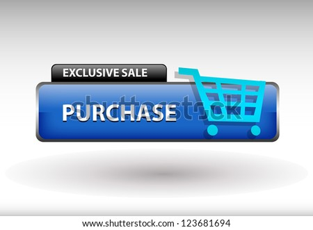 glossy web button with shopping cart sign. shopping cart shape icon with shadow - stock photo