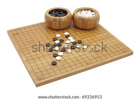 """GO""  boardgame isolated on white background - stock photo"