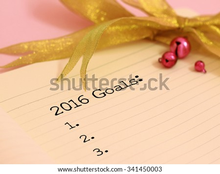 2016 goals and gold color decoration