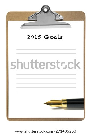 2015 goals note pad - stock photo