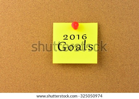 2016 Goals on a Noticeboard.