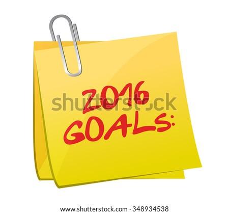 2016 goals post memo illustration design graphic - stock photo