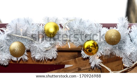 Gold Christmas balls on the  white branch - stock photo