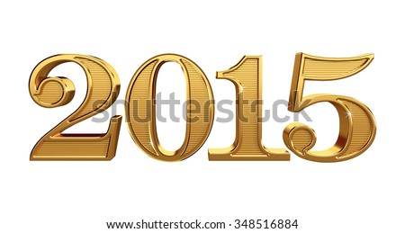 2015 Gold 3D Numbers Isolated on White
