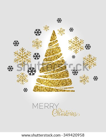 Gold glitter Christmas tree.  Holiday background. Merry Christmas card. Raster copy - stock photo