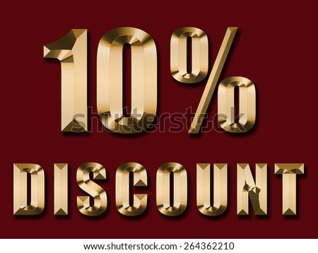 gold text 10 percent discount on red background  - stock photo
