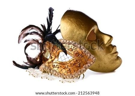 gold Venetian masks isolated on  white  background - stock photo