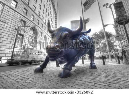 Golden Bull - symbol of wall street ,Manhattan,new York,United states of America - stock photo