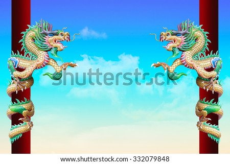 Golden Chinese Dragon Wrapped around red pole on sky background