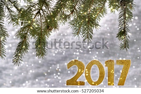 2017 golden figure on fir branches and snow background