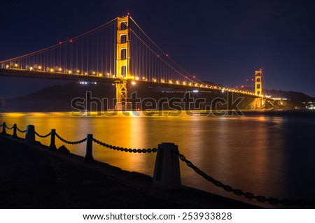 Golden Gate Bridge at night, San Francisco, California