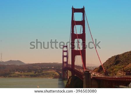 Golden Gate Bridge at Sunset - San Francisco, California - stock photo